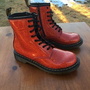 Womens Dr Martens Red Glitter Boots